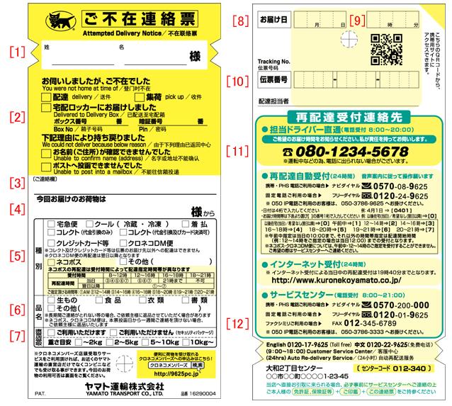 Phiếu Attempted Delivery Notice khi sản phẩm mua hàng online tại Nhật Bản chưa được giao