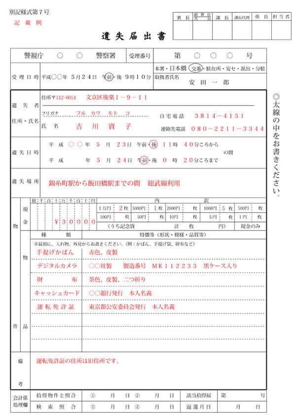 tờ kê khai mất ví tại Nhật